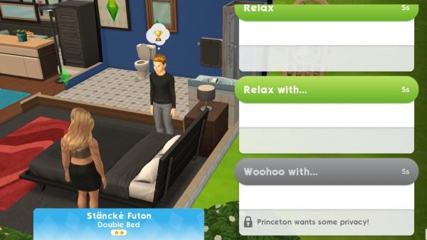 I Can Get One To Relax With The Other But The Woohoo Option Is Grey And Says That One Of My Sims Wants Privacy Help Please